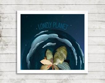 Lonely planet earth modern art digital print