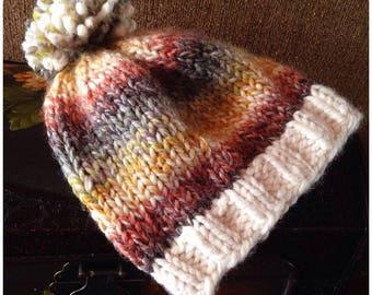 knitting pattern, knit hat pattern, knit pattern, chunky hat, beanie pattern, toque pattern, Insta Hat, pom-pom hat, instant download pdf