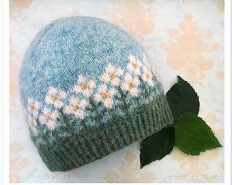 knitting pattern, knit hat pattern, knit pattern, colorwork hat, beanie pattern, stranded colorwork, grandpa's garden, instant download pdf