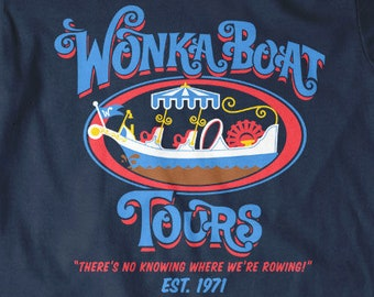 Sweet Candy Boat Tours Chocolate Factory Funny Logo Fine Cotton Jersey Mens and Ladies Unisex Adult Sizes