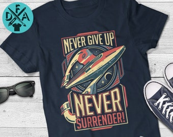 f8e640e28c Galaxy Quest T-Shirt Inspired by Star Trek Never Give Up Never Surrender  Sci Fi Mens and Ladies Womens T-Shirt Unisex Adult Sizes