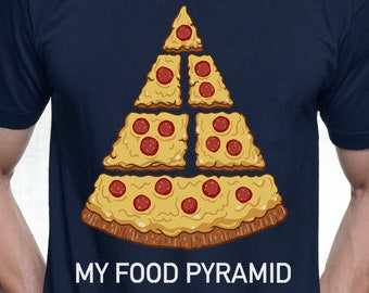 New Funny Pizza Shirt Funny Pizza Food Pyramid Junk Food Mens and Ladies Womens T-Shirt Unisex Adult Sizes