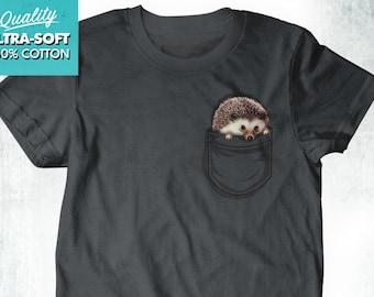 9a4e99395 New Cute Pocket Hedgehog Fine Cotton Jersey Mens Unisex Adult Sizes Animals  Shirt