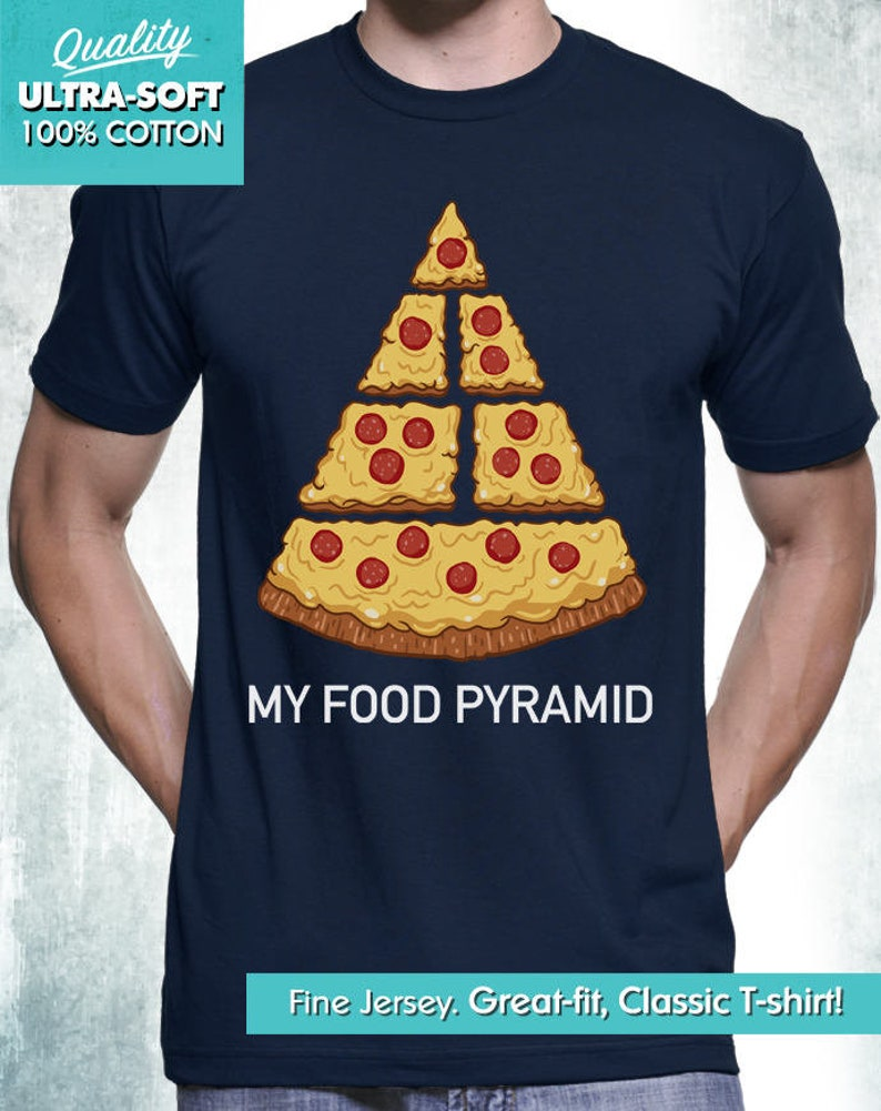 New Funny Pizza Shirt Funny Pizza Food Pyramid Junk Food Mens image 0