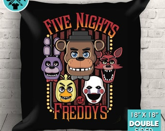 "New Five Nights At Freddy's Multi-Character Couch Pillow Decorative Pillow Throw Pillow 18""x18"" Black"