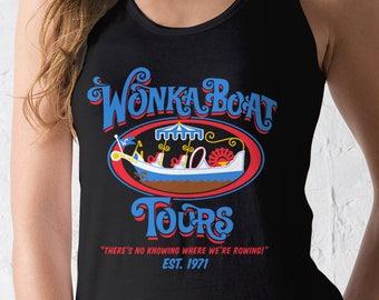 New Chocolate Factory Boat Tours Ladies Tank Top Movie Logo T-Shirt Funny Retro Movie Adult Women Tanks Shirt Sizes