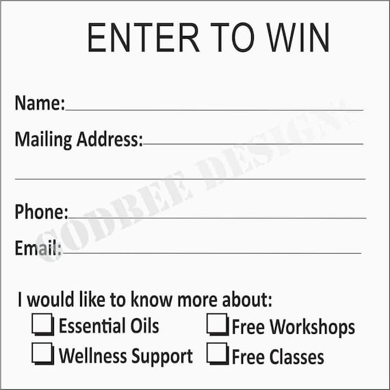 Entryway And Free Printables: Enter To Win Essential Oil Entry Sheet Printable Download