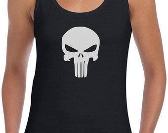 fee18594 The Punisher Mens Vest Training Top Skull ideal for workout and summer