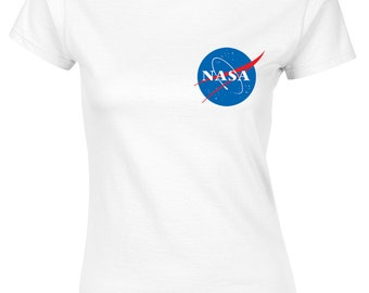 cb79e1e6090 NASA Space Astronaut Ladies Fitted T-Shirt - Cool Geek Nerd Star Logo Gift  Top