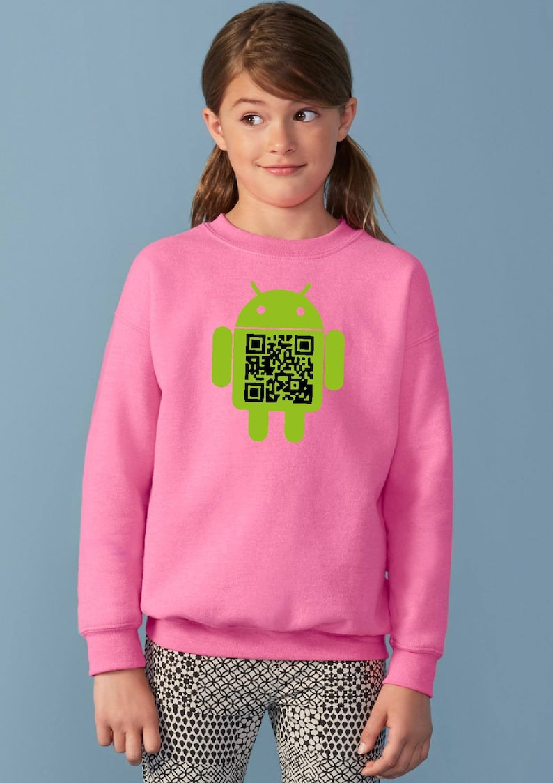Various Colours Kid/'s Android Samsung Qr Code Apple Tablet Geek Jumper Fun Children Sweatshirt Ideal for Gift