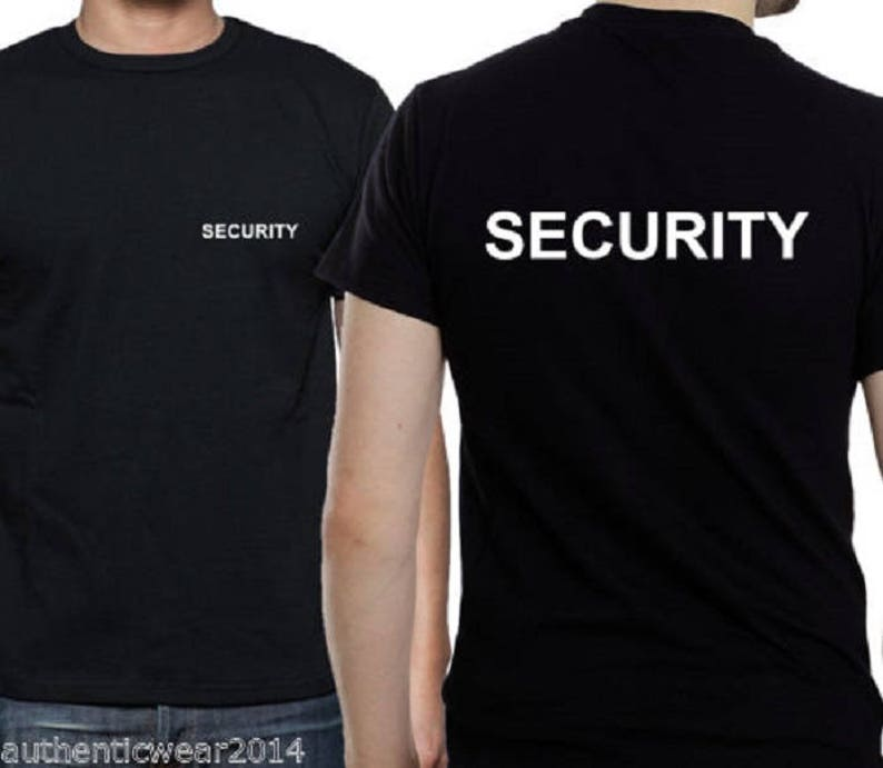 0616e66ead7 Security Front   Back Printed T shirt Top Work Doorman Bouncer