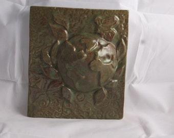 Ceramic Art Tile Earth- Moss Green