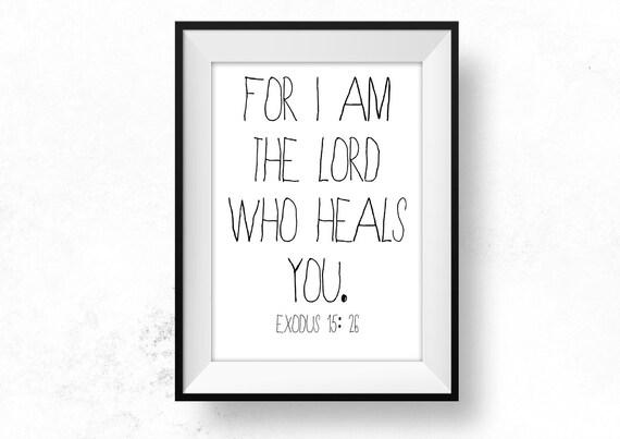 Seigneur Qui Guérit Citation Guérison Bible Professeur Cadeau Imprimable Christian Art écriture Bible Citation Maladie Encouragement être Courageux