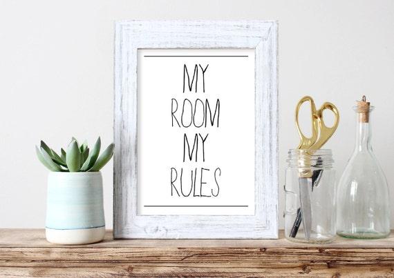 Mijn kamer mijn regels tiener art tiener jongen gift decor etsy