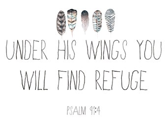 Under His Wings Printable Refuge Christian Bible Verse Art Feathers Psalms Print Poster Instant Download Home Decor Scripture Art Quote