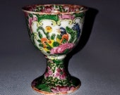 Stunning Chinese 19th Century Famille Rose Porcelain Two Picture Panels Small Stem Cup