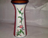 Chinese Vintage Export Red White Floral Design Paneled Cylinder Porcelain Vase w Out turned Flared Lip