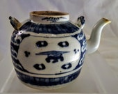 Exquisite Chinese Qing Dynasty Blue White Porcelain Teapot w two Panel Design