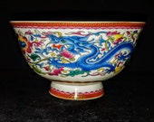 Exquisite Chinese Qianlong Mark 20th Century Famille Rose Dragon Phoenix Design Porcelain Footed Bowl