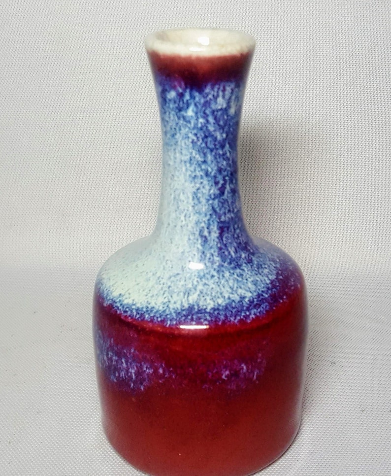Chinese 19th Century Flambe Glaze Mallet Form Porcelain Vase wCrackle Glaze Bottom