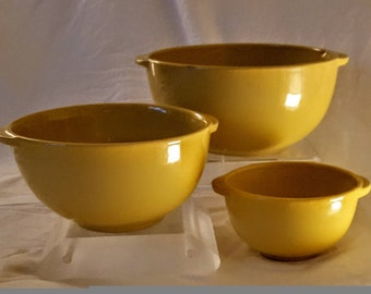 Set of Three (3) Vintage Robust Yellow Ceramic Nesting Bowls with Handles