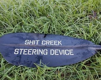 Shit Creek Steering Device in white reflective vinyl - kayak sticker - SUP decal - canoe sticker - kayak paddle sticker - Dragon boat decal
