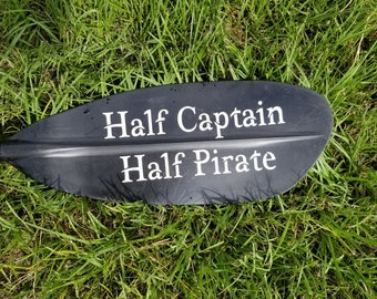 Half Captain Half Pirate - kayak paddle decal - canoe decal - SUP sticker - mermaid decal - manatee sticker - pirate decal - boat stickerer