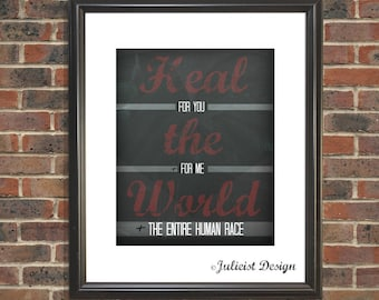 Heal the World print • Michael Jackson • Digital download • Printable decor • Chalkboard print