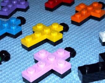 Black Base Crosses made from LEGO® bricks
