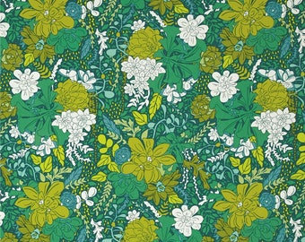 SALE Rosette Rain Art Gallery Fabrics Succulence Collection, Bonnie Christine, 100% premium cotton, floral quilting, by the yard, emerald