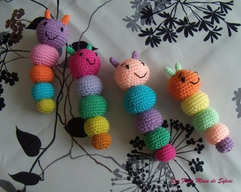Multicolored chenille crochet cotton and acrylic