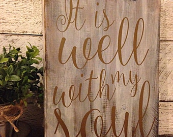 It is well with my soul | distressed wooden sign | religious gifts | religious sign | inspirational art