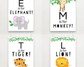 A4 Jungle safari alphabet prints