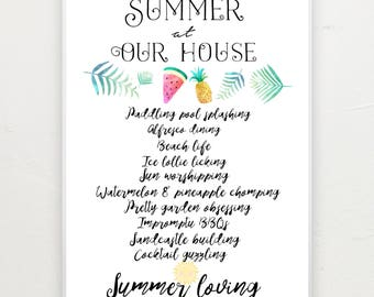 Summer at our house print.