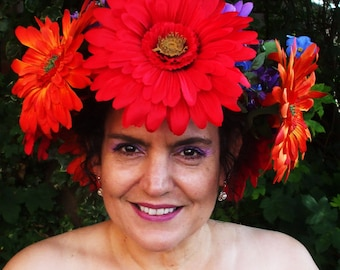 Flower Crown,Flower Headband,Large Gerberas,Jewel Tones,Red,Orange,Purple,Blue,Bohemian Bride,Hippie Bride, Boho Crown,Festival Wedding