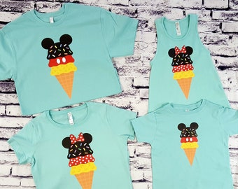 37dd30489 Ice Cream Cone Mickey and Ice Cream Cone Minnie Disney Couples Family  Matching His and Hers Mommy Son Daddy Daughter Family Vacation Shirts