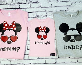 9b72b1092 Sunglass Mickey and Sun glasses Minnie Personalized Customized Disney  Family Trip Vacation Shirts