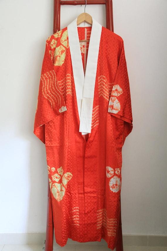 Vintage Damask Silk Kimono Robe With Shibori Tie Dyed