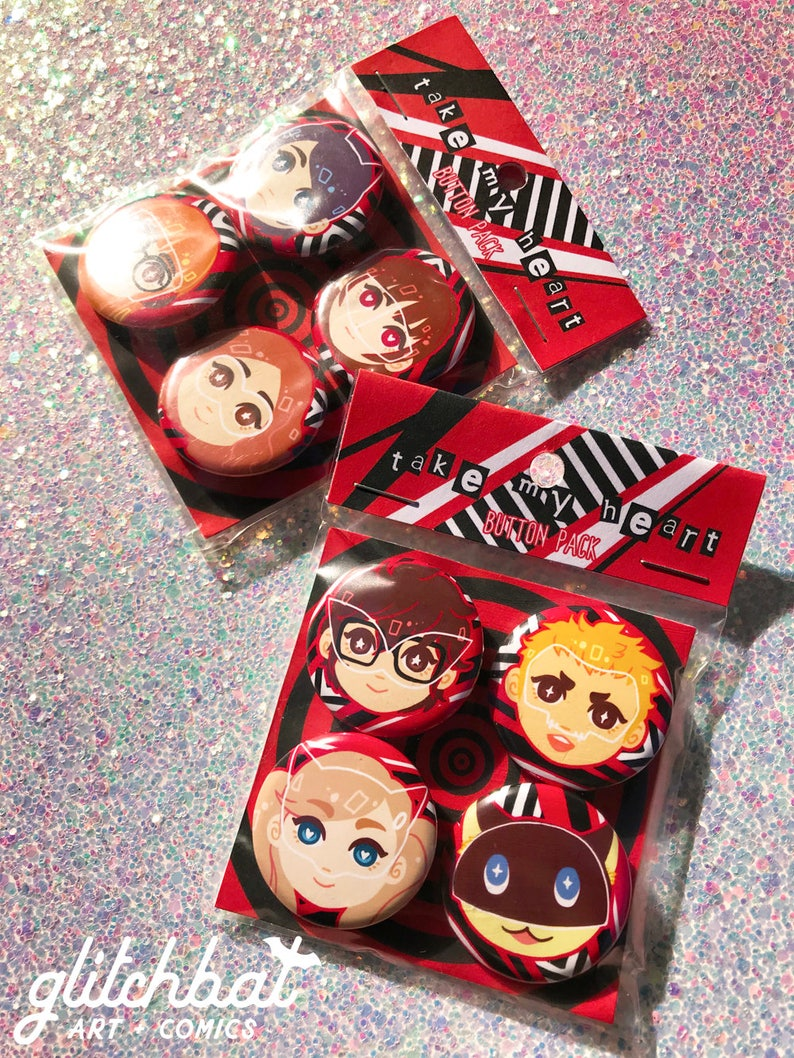 Persona 5 Christmas Gifts.Persona 5 Phantom Thieves 1 25 Button Sets