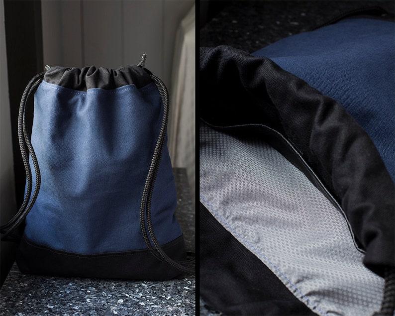 7d2c9c145d11 Hipster Backpack - Draw String Bag Navy Blue - Drawstring Backpack - Canvas  Backpack for Women & Men - Pull String Backpack - String Bookbag