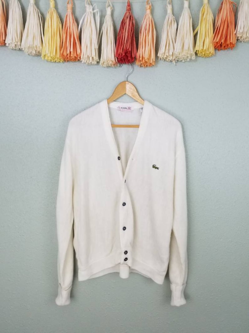 957dcd5ac55b5 Vintage izod lacoste cardigan sweater white alligator