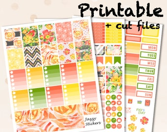 August Bloom and Grow Kit with Silhouette Cut Files and JPEGs / Printable Planner Stickers / Erin Condren Vertical Life Planner