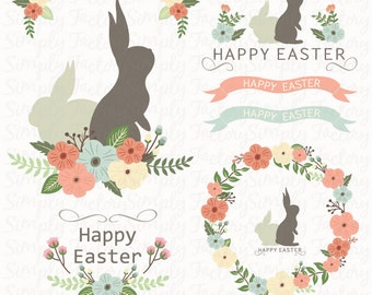 Happy Easter Day, Easter Bunny, Easter Clipart, Silhouette, Spring, Seasons Greeting, Flower Easter, Wreath.15 images 300 dpi. Eps,Png files
