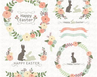 Easter Floral Wreath Set, Easter Bunny, Easter Clipart, Silhouette, Spring, Seasons Greeting, Flower. 15 images 300 dpi. Eps, Png files.