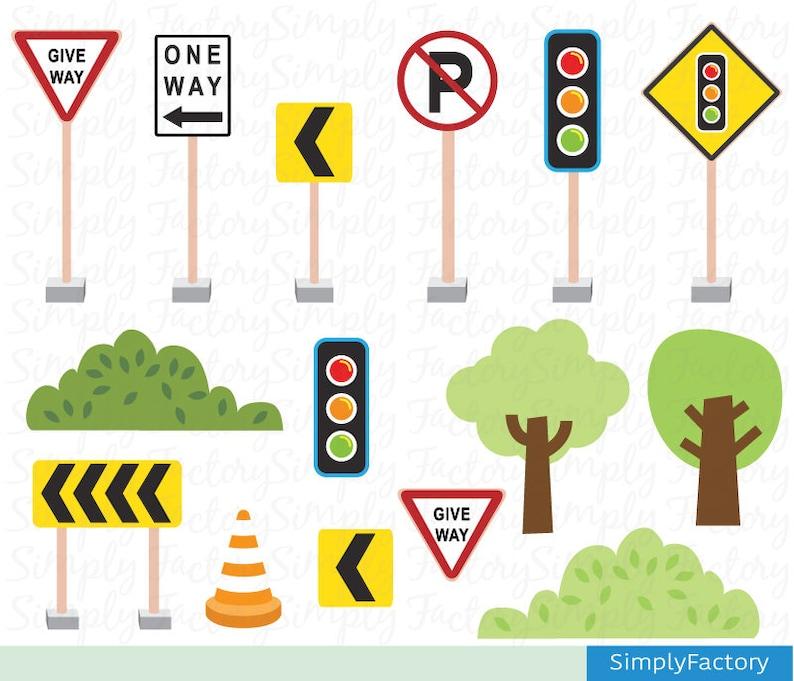 Transportation clip art Cute Vehicles Road Sign Transport ...