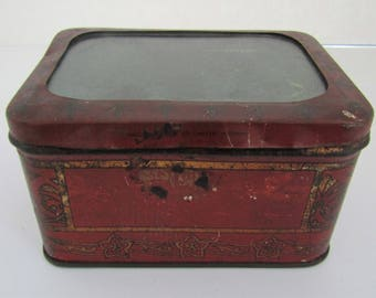 Rare 1899-1944(?) Glass Hinged Lid Tin Box