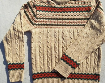 Retro pullover Jantzen made in USA cable knit ski cabin mountains classic  size larger earth tone sweater b5e0dfc8d