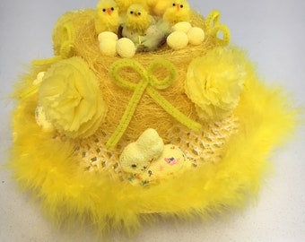 14 Plush Yellow Mini Easter Chicks Decoration Bonnet Hat Craft Party Hunt Hamper Party Supplies Home, Furniture & DIY