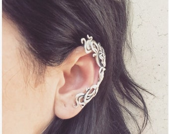 Leaves and Scalemail with Chainsmail Silver Plate Ear Cuff