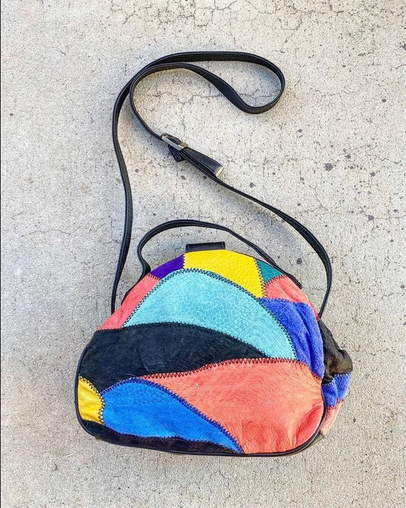 80s Abstract Patchwork Suede Bag